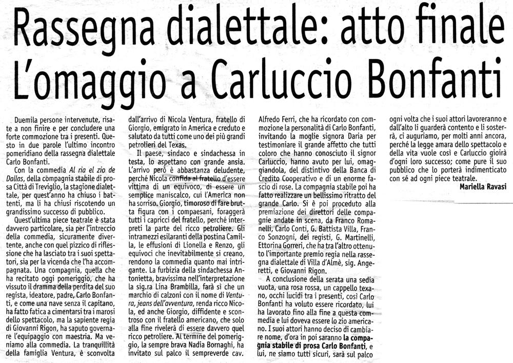 Articolo apparso su Il Popolo Cattolico nel novembre del 2001