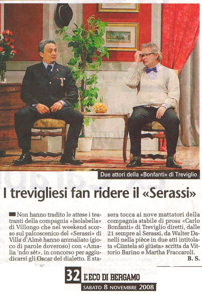 Articolo apparso su L'Eco di Bergamo l'8 novembre 2008
